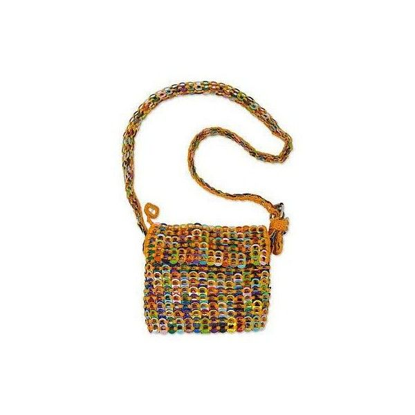 NOVICA Crocheted Yellow Shoulder Bag of Multi-Color Pop Tops (7.815 RUB) ❤ liked on Polyvore featuring bags, handbags, shoulder bags, accessories, clothing & accessories, soda pop-top, yellow, handbags shoulder bags, yellow shoulder bag and purse shoulder bag