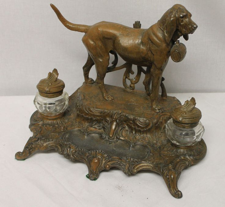 Spelter Full Figural Grand Dog Antique Desk Set with Ink Wells