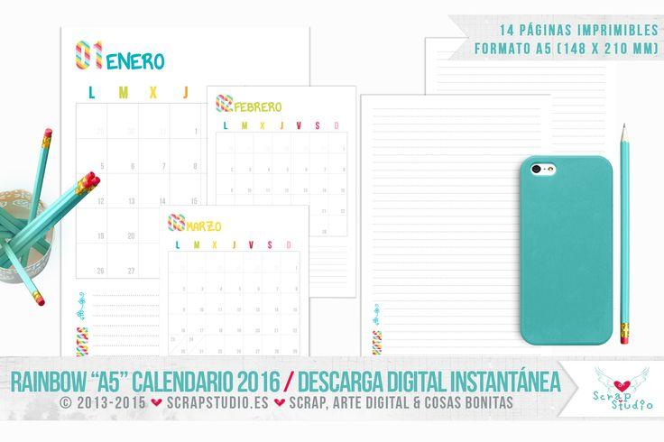 Hola! Siguiendo con la serie RAINBOW de calendarios imprimibles, ahora os traigo la versiónA5. Este Calendario 2016estácompuesto por 14 archivos en formato .PNG de 1748×2480 pixeles (148×21…