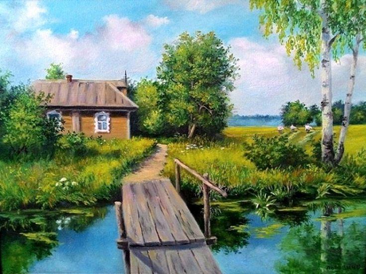 Картинка деревенский пейзаж с домом