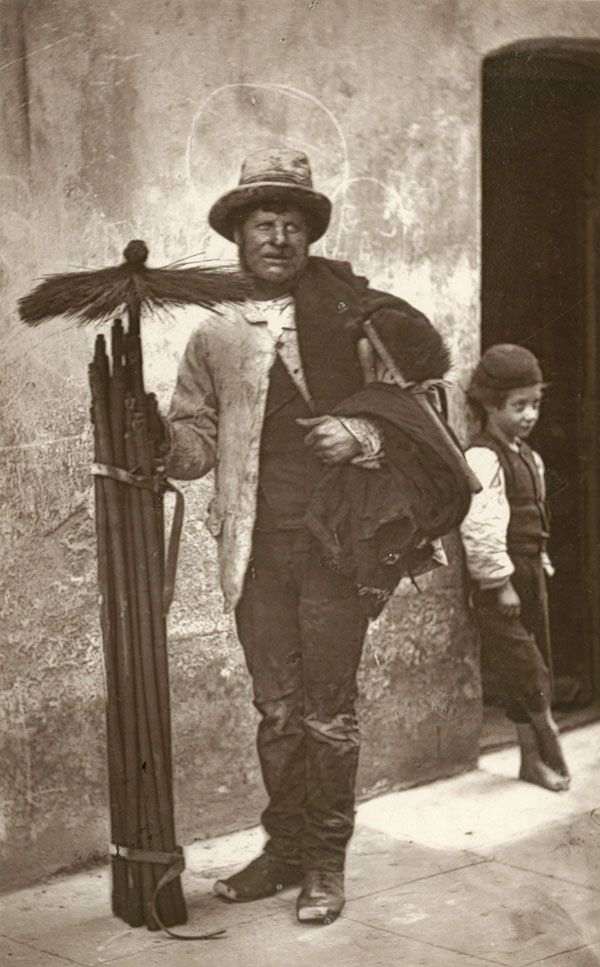 John Day, above, known as the temperance sweep. Victorian street life...
