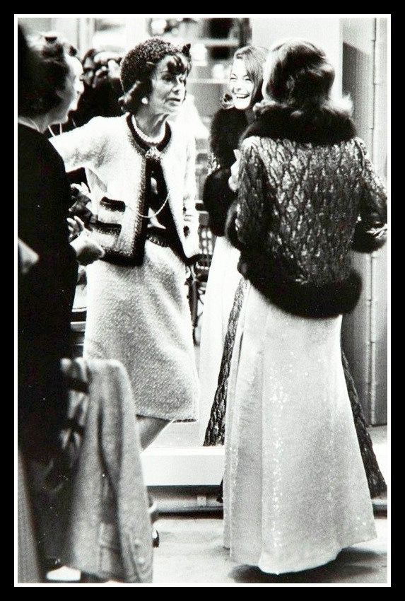 Romy Schneider with Coco Chanel in the dressing room of Maison Chanel, photo by Milton Greene, Paris, 1962 | by skorver1