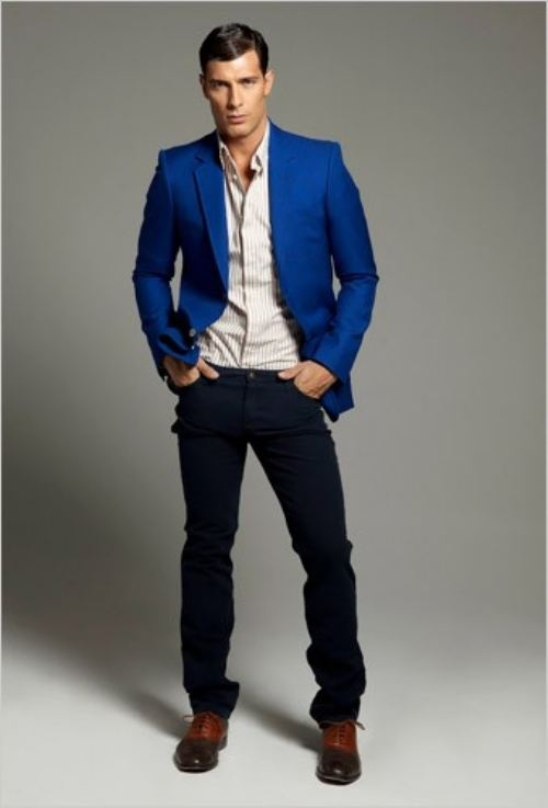 Men Royal Blue Blazer Outfit | VCFA