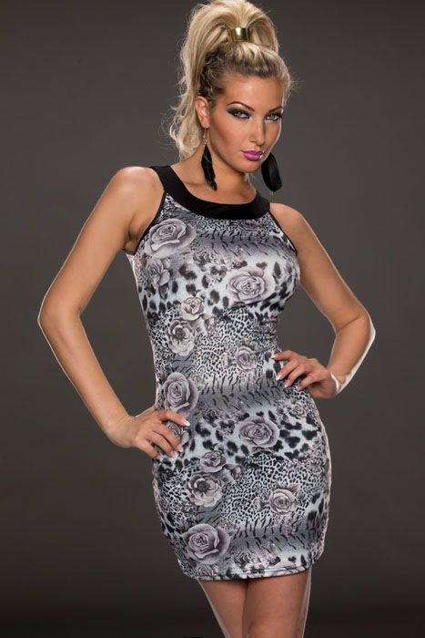 Gray White Rose and Leopard Print Dress Item No. : LC21371-2