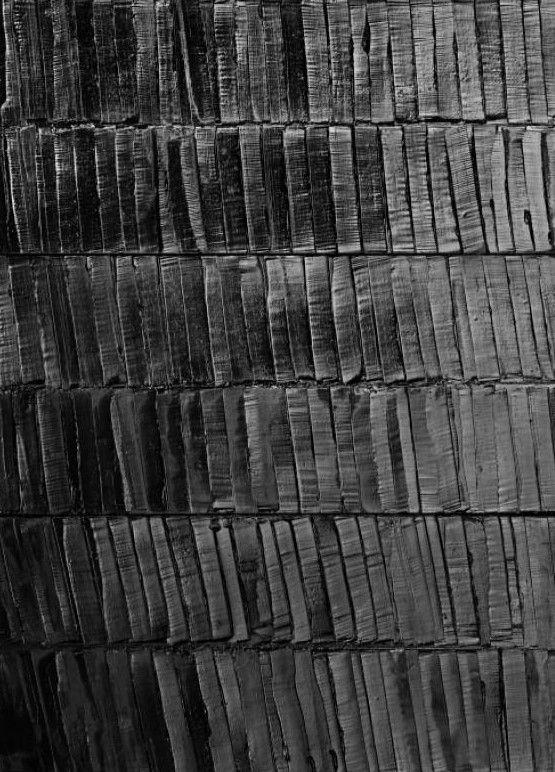 Pierre Soulages (1919 -) is een Frans abstract kunstschilder en beeldhouwer. Hij staat bekend om het gebruik van de kleur zwart in veel van zijn schilderijen. De vormen zijn hierbij tot het minimum gereduceerd. Vaak zijn het enkele balken die de hoofdlijnen van het schilderij vormen. Het licht dat op het werk valt, beschouwt hij als een onderdeel van dat werk. Door fijne groeven te maken in het zwarte oppervlak van zijn schilderijen reflecteert het licht in het werk en verandert het.