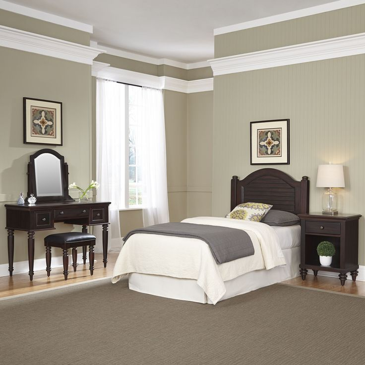 Bermuda Twin Headboard, Night Stand, Vanity with Bench by Home Styles (Espresso - Espresso Finish/Brown Finish)