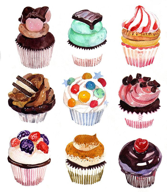 Cupcakes in Watercolor