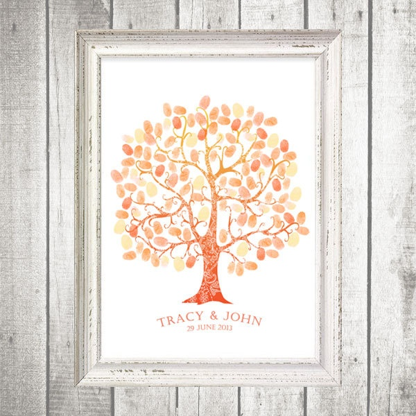 ombre thumbprint guest book tree - printable file. $20.00, via Etsy.