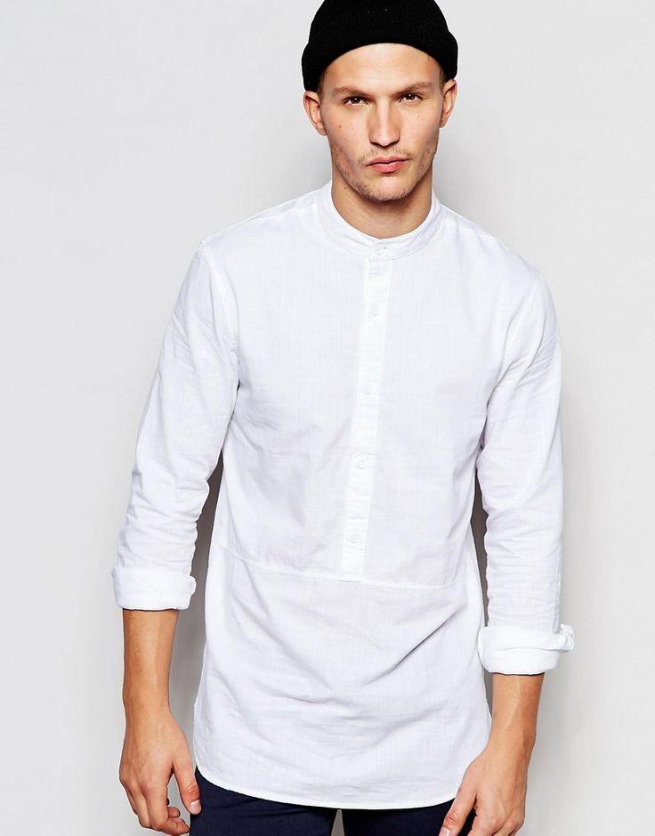 ADPT white collarless long shirt