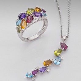 Seagull Gifts | 18 carat Ring and Pendant set. Genuine Diamonds,Garnet,Topaz, Amethyst | seagullgifts.com.au