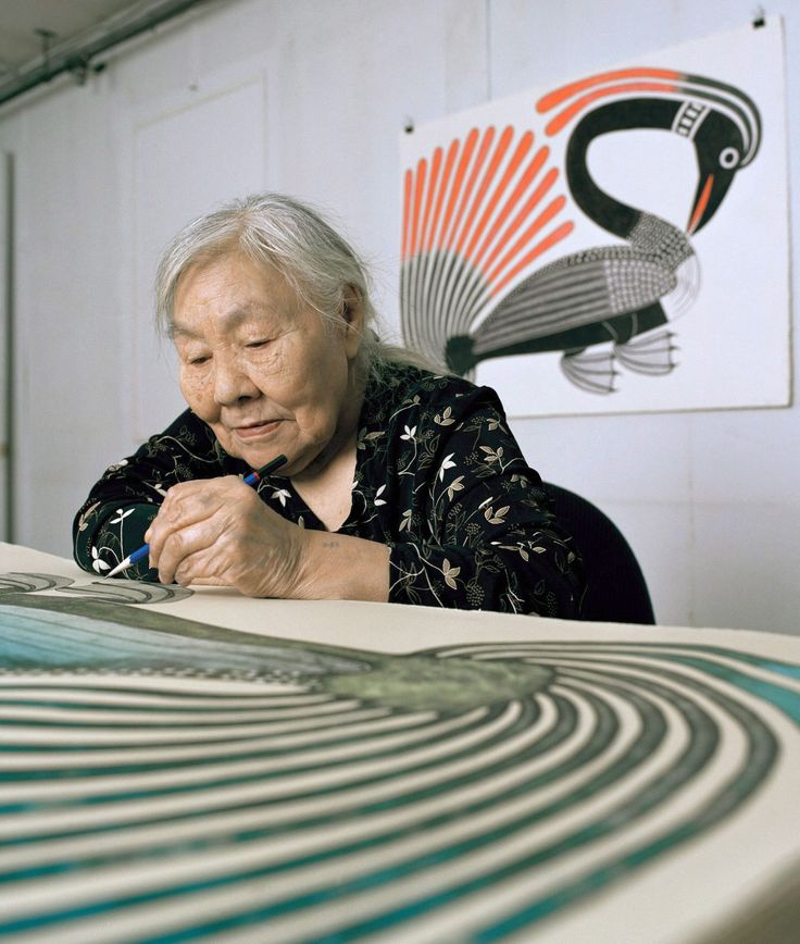Kenojuak Ashevak working on Long Necked Loon