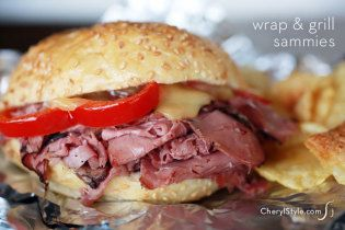Hot pastrami sandwiches with melted cheese for the grill