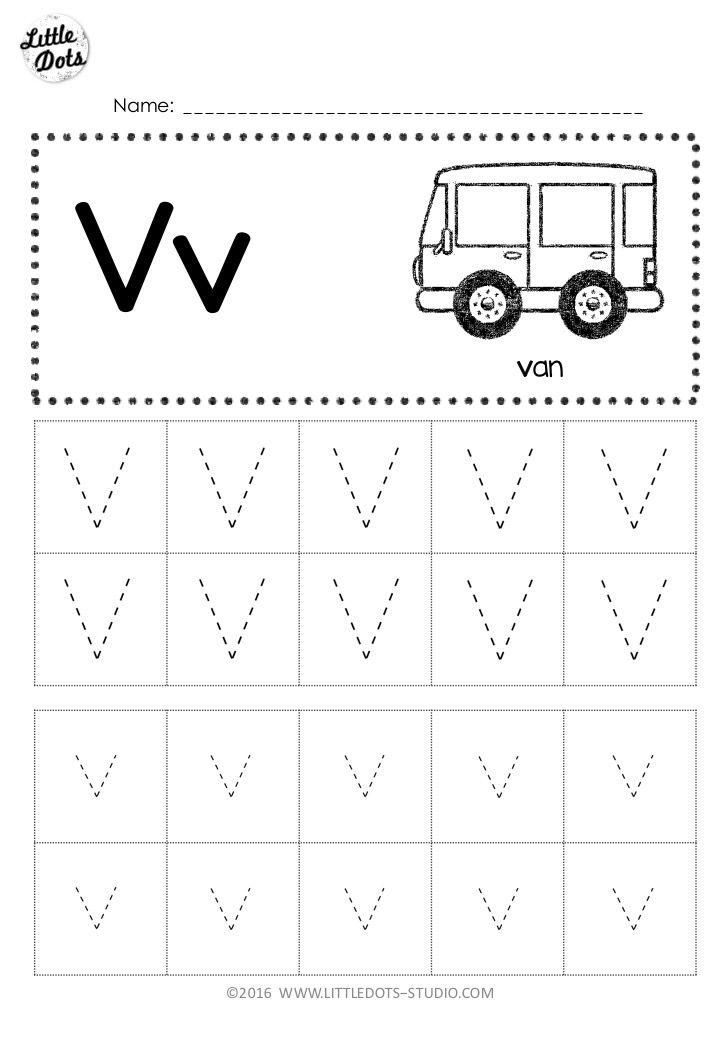 Download Free Letter V Tracing Worksheet For Preschool Pre K Or