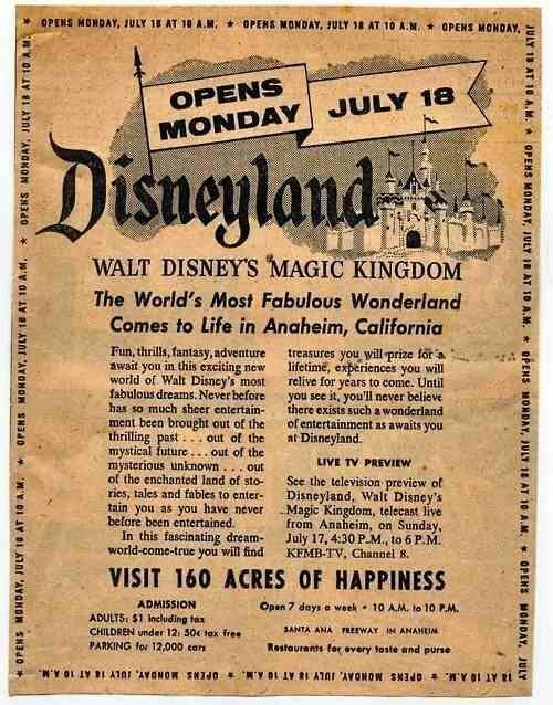 Ad for Disneyland's opening.