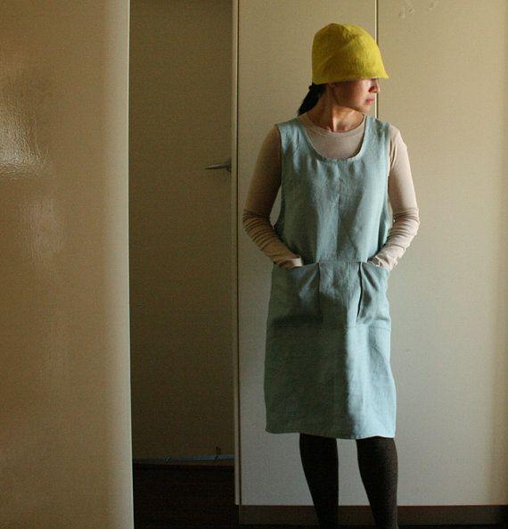 Linen Pinafore Dress Criss Cross Artist Smock Work