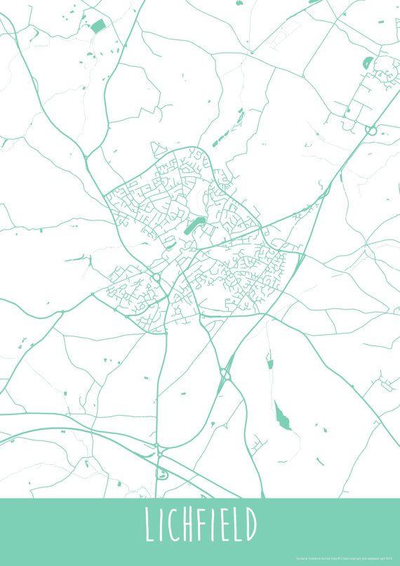 Lichfield City England Art Map Roads Print  Your by ILLAstudio