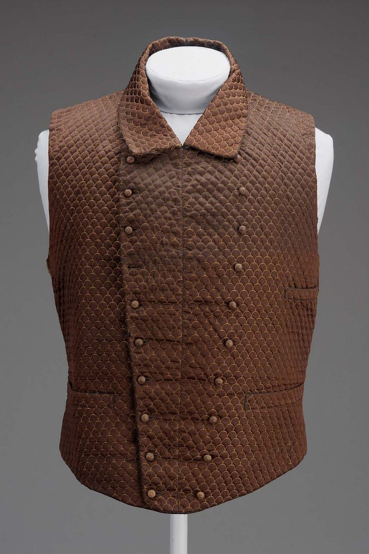 1853, America - Man's waistcoat - Silk quilted, cotton and leather lining, needleworked buttons, brass-colored metal buckle