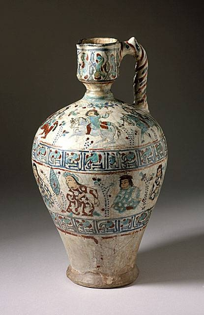 Ewer Iran Ewer, late 12th century - early 13th century Ceramic; Vessel, Fritware, overglaze painted (mina'i), Height: 13 in. (33.0 cm) The Madina Collection of Islamic Art, gift of Camilla Chandler Frost (M.2002.1.7) Art of the Middle East: Islamic Department.