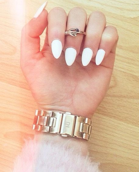 white pointed nails pointy nail rt pinterest pointed