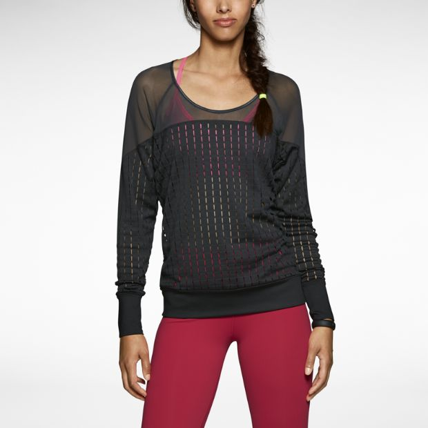 Training shirt with sheer Dri-FIT fabric and a woven lattice construction for a unique look and breathability. By Nike.