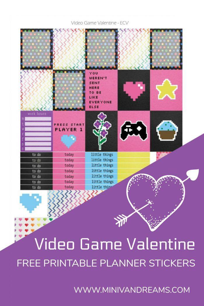 Free Printable Planner Stickers Video Game Valentine Free