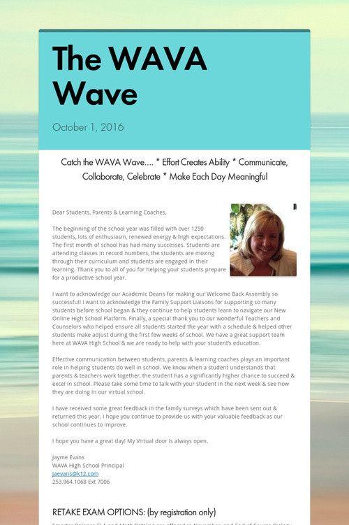 October, 2016 High School #WAVA Wave Monthly Newsletter
