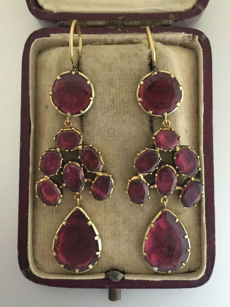 A Fabulous Pair Of Georgian Garnet Drop Earrings Circa 1800's