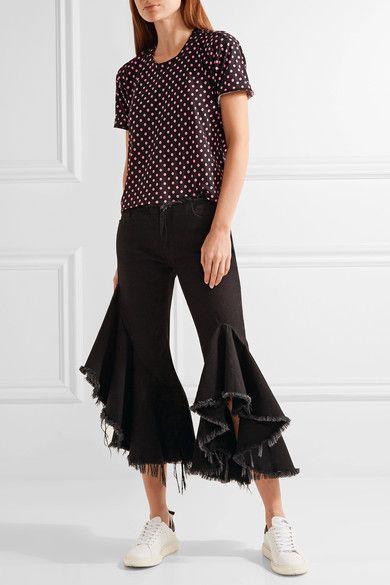 Comme des Garçons GIRL - Polka-dot Cotton-jersey T-shirt - Black - large