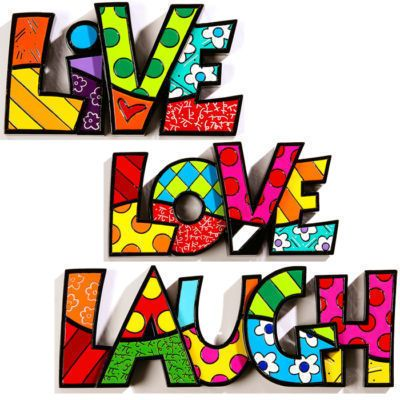 Romero Britto Words Sculpture Decor Live Love Laugh 3 PC Set by Giftcraft | eBay