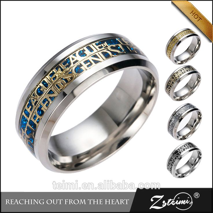 ZSTEIMI Video Online Game League Of Legends Gift Personalized Jewelry Printed Pattern Latest Gold Titanium Stainless Steel Ring