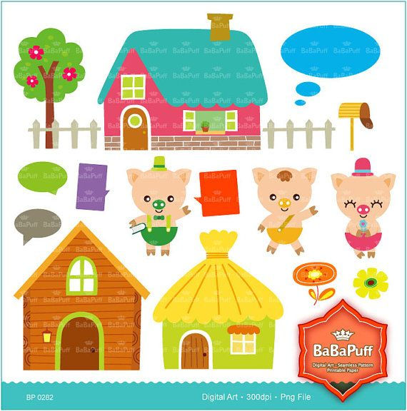 3 Little Pig's Story Digital Clip Art ---- Personal and Small Commercial Use. BP 0282