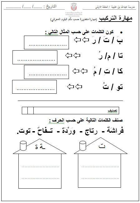 أوراق عمل حرف التاء للصف الاول الفصل الدراسي الاول مدونة تعلم Learn Arabic Online Arabic Alphabet For Kids Arabic Worksheets