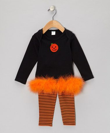 Truffles Ruffles Black & Orange Marabou Pumpkin Tunic & Stripe ...