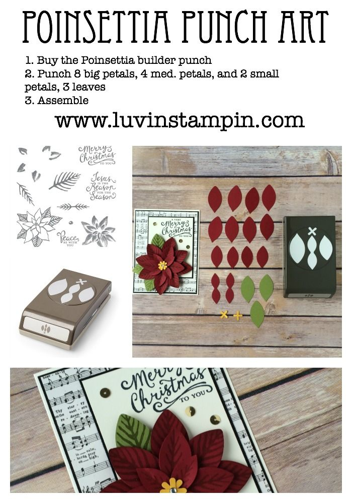 Poinsettia punch art card made using the festive flower punch and reason for the season from Stampin' UP!
