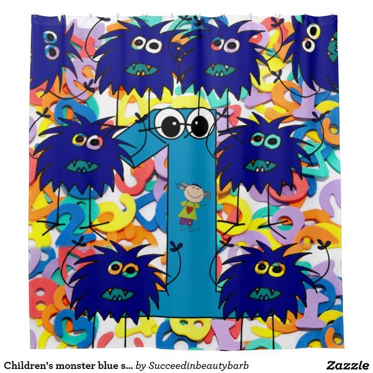 Children's monster blue shower curtain one year