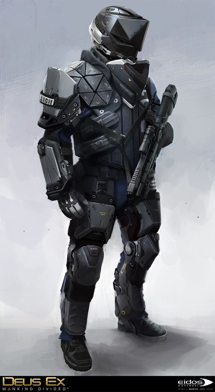 Deus Ex Mankind Divided - Prague Swat, Bruno Gauthier Leblanc on ArtStation at https://www.artstation.com/artwork/W34Py