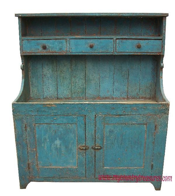 "beautiful old blue dry sink circa 1850-1860  Plank paneled doors 49""w x 19.5 d x 51.5 h"
