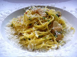 Spaghettini With Olive Oil, Garlic, and Parmesan Cheese!  #simplepleasures #CDNcheese