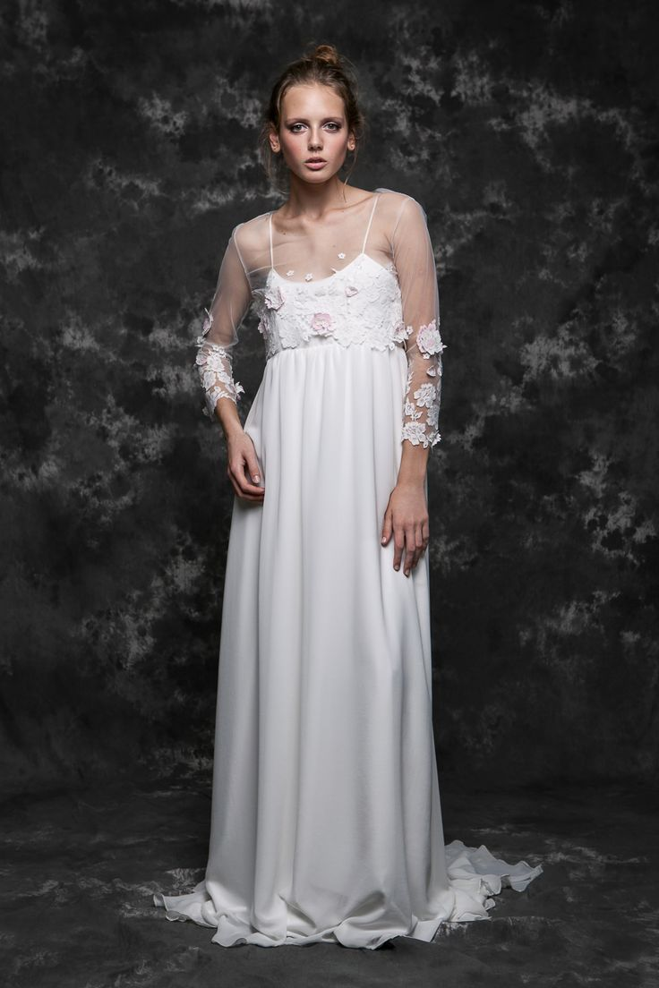 Pureza Mello Breyner Atelier - bridal boho dress in silk crepe and embroidered french lace #bride #modern #lace #cotton #silk #romantic #bridal #dress #designer #satin #handmade #by #measure #wedding #boho #pink #wedding