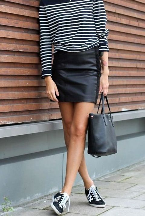 Leather (Pleather) Skirt & Breton Stripe Top | Adidas Gazelles | Just. Wear. Trainers. | Comfy Casuals | Street Style | Fashion | Footwear | http://www.rockmystyle.co.uk/just-wear-trainers/