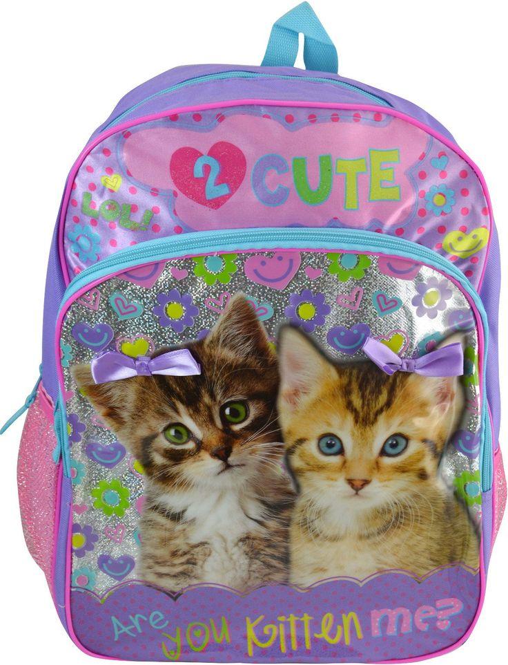 "Wholesale Backpacks Kittens 16"" Backpacks - 48 Units"