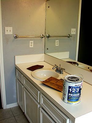 Imperfect Treasures Spray Painted Bathroom Countertop I Think We Could Do Mama S Counter Top This Way