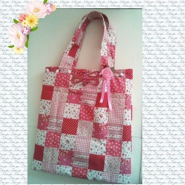 Shabby Chic Tote Style Shoulder Bag, Patchwork Cotton Fabric Handbag, Beach Bag  £12.95