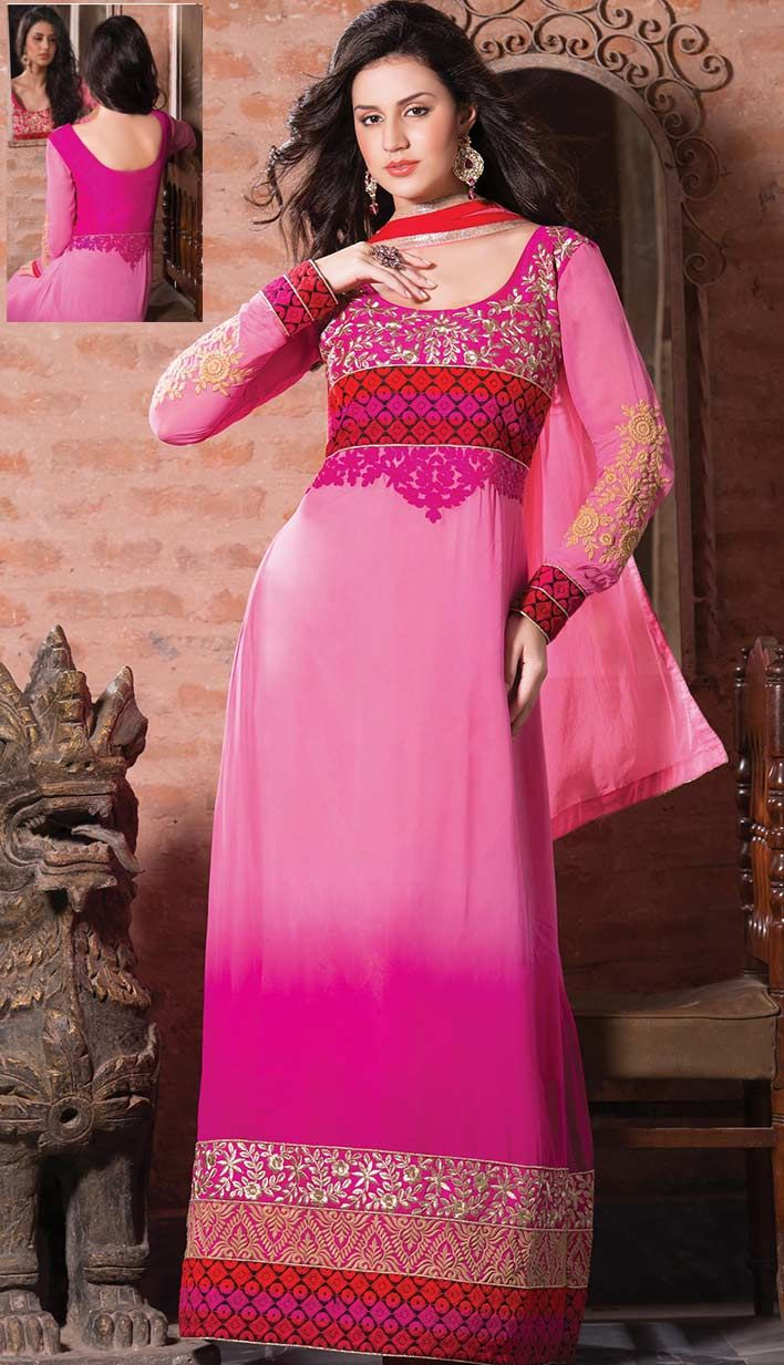 Shop Beautiful Traditional Pink #GeorgettePartyWearDresses Product code: KPW-38598 Price: INR 3643 (Unstitch Suit), Color: Pink Shop Online now: http://www.efello.co/Salwar-Kameez_Beautiful-Traditional-Pink-Georgette-Party-Wear-Dresses,-Dress_36849