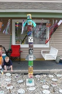 totem pole: is it coffee cans? Awesome!  Now just need to start collecting cans for them to do it with.