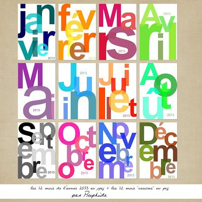 Free {French} 2013 Month Cards .... would be cute to organize monthly calendar at home Color Set