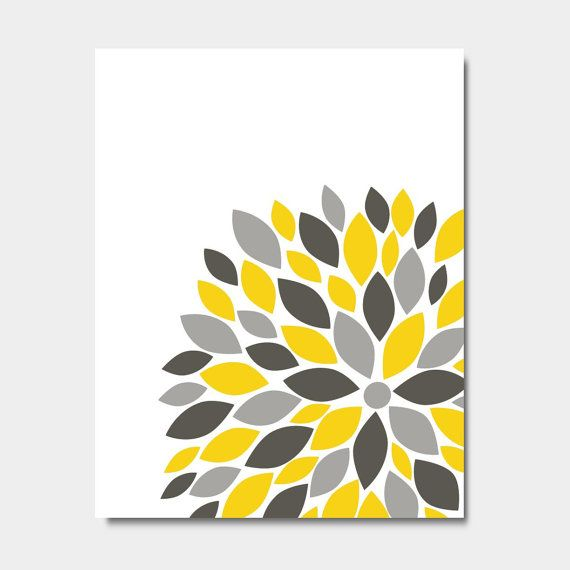 "Flower Bursts Botanical Print -11"" x 14"" // Grey Yellow Teal // Digital Fine Art Modern Wall Art Prints Home Decor"