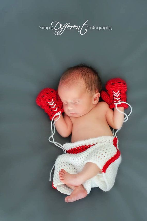 This boxing outfit is a great outfit for those little fighters! This pattern includes instructions for the shorts and gloves. There is also a knit