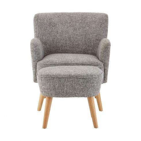 Grey Fabric Armchair With Ottoman