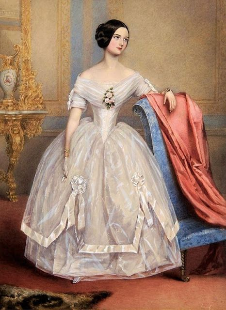 Alfred Edward Chalon, unidentified portrait, ca. 1840s. | In the Swan's Shadow  Maybe I could use the gorgeous striped organza on Renaissance Fabrics for an over-skirt like this one with ribbon and rosettes! Obviously update the bodice and sleeves